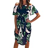 Pitauce Off Shoulder Dresses for Women Tropical Palm Leaves Print Bell Sleeve Ruffle Casual Beach Sundresses