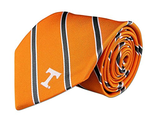 Tennessee Volunteers Ncaa Stripes - Tennessee Vols Mens Silk Tie - Thin Stripe w/Collegiate Logo - Orange & Grey - One Size - Zep-Pro - NCAA LIC. - University of Tennessee Volunteers