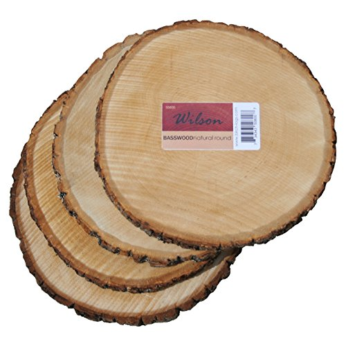 Basswood Round Unsanded, Pack of 4, 7-9 inch Diameter x 1 inch Thick -