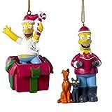 Kurt Adler Set of 2 Homer Simpson Ready For The Holidays Christmas Ornaments 3.5'