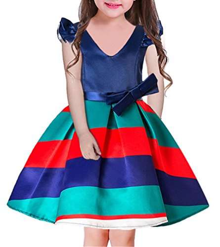 Gorgeous Bow (OURDREAM Big Girl Event Dress Kids Birthday Independence Day Gorgeous Bow Dress Sleeveless(Rose,160))