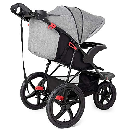 HONEY JOY Baby Jogger Stroller, All Terrain Lightweight Fitness Jogging Stroller w/Parental Cup Phone Holder, Free Tractive Webbing, Large Storage Basket (Gray)