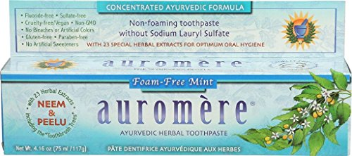 Auromere Mint Free Toothpaste - Ayurvedic Herbal Toothpaste Foam-Free Mint by Auromere - Fluoride-Free, Natural, with Neem, Vegan and Sulfate-Free - 4.16 oz