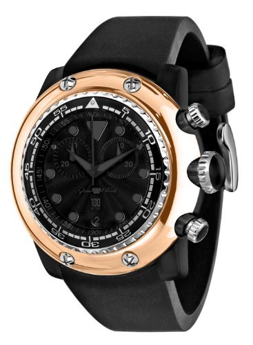 Glam Rock Unisex Quartz Watch With Black Dial Analogue Display And Silicone Bracelet 0.96.2429
