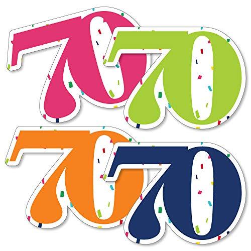 70th Birthday - Cheerful Happy Birthday - Seventy Shaped Decorations DIY Colorful Seventieth Birthday Party Essentials - Set of 20