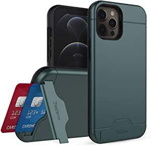 Teelevo Wallet Case for iPhone 12 Pro Max, Dual Layer Case with Card Slot Holder and Kickstand for iPhone 12 Pro Max - Dark Green