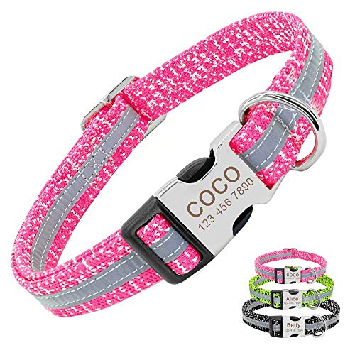 PET ARTIST Reflective Personalized Dog Collars for Small Medium Large Dogs, Custom Large Dogs Collar with Name for Pitbull Boxer German Shepherd, Pink/Neck fit 12.5-19.5''