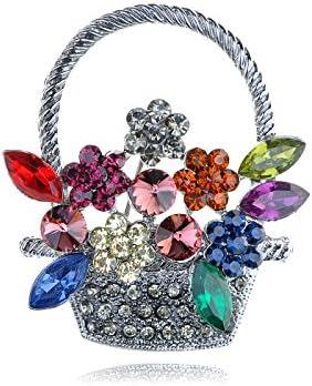 Alilang Silvery Tone Shine Colorful Rhinestones Spring Floral Basket Brooch Pin