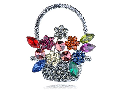 Alilang Silvery Tone Colorful Crystal Rhinestone Spring Flower Basket Pin Brooch