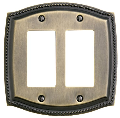 Baldwin 4797.CD Rope Design Double Rocker/GFCI Solid Brass Switch plate, Satin Nickel