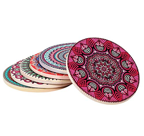 "Coasterland Absorbent Stone Coasters For Drinks, SET of 6, LARGE, Different Mandala Designs, Colorful, Thick, Save Your Furniture, Ceramic, Round, Durable, Beautiful, Perfect Gift, 4.3"" Diameter"