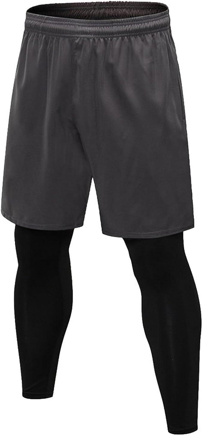 Tights mit Tasche Base-Layer DANISH ENDURANCE Herren-Kompressionshose Shorts atmungsaktive Running-Tights f/ür Laufen und Training 2er-Pack Trainingshose