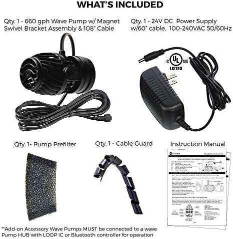 Current USA eFlux Accessory Wave Pump | Ultra Quiet, Compact Size, Compatiable with Loop | for Marine & Freshwater Aquariums