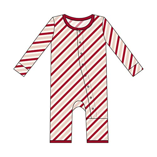 - Kickee Pants Little Boys and Girls Holiday Print Coverall with Snaps - Rose Gold Candy Cane Stripe, 3-6 Months