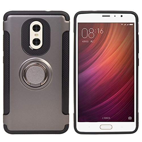 Price comparison product image COOLKE Dual Layer Shockproof TPU Silicone + PC Hard Back shell 360 Rotating Ring Grip Holder Kickstand with Back Magnetic Circle Protective Case Cover for Xiaomi Redmi Note 4X - Gray