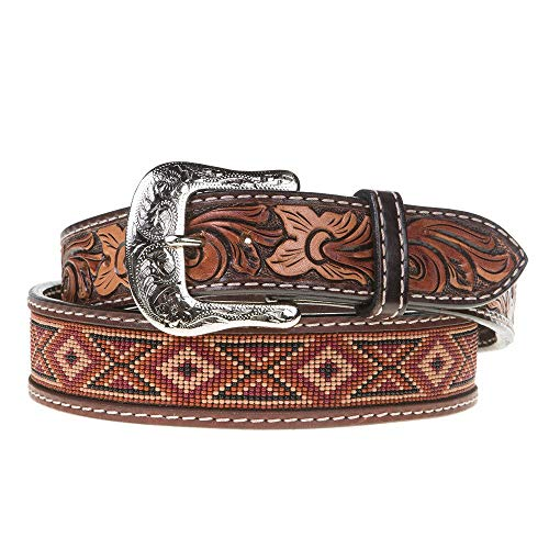 Western Fashion Accessories Mens Leather Beaded Earth Tone Belt 30 Brown