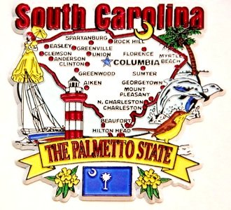 South Carolina State Elements Map Fridge Collectible Souvenir Magnet - Collectible Refrigerator Magnet