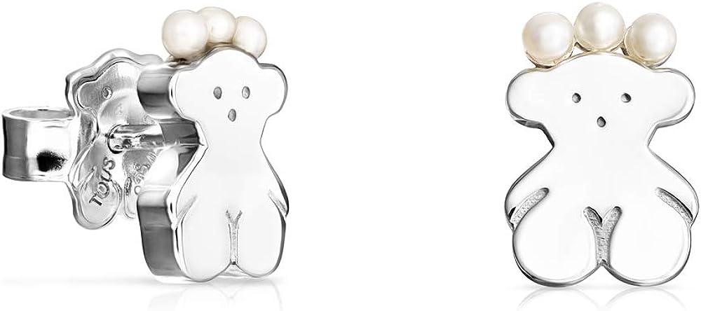 TOUS Real Sisy - Pendientes Oso de Plata y Perlas. Cierre presión. Motivo: 0,9 cm.