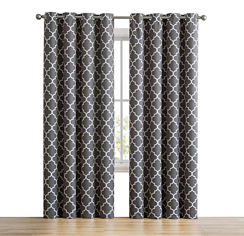 HLC.ME Lattice Print Thermal Insulated Room Darkening Blackout Window Curtains for Bedroom & Living Room - Grey - 52