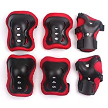 Bicycle Inline Skate Protective Pads, Eruner Kids' Knee Elbow Pads Protector Wrist Palm Hand Guards for Roller Derby Penny Board Riding Scooter Hockey Safety Protection Set, Black & Red