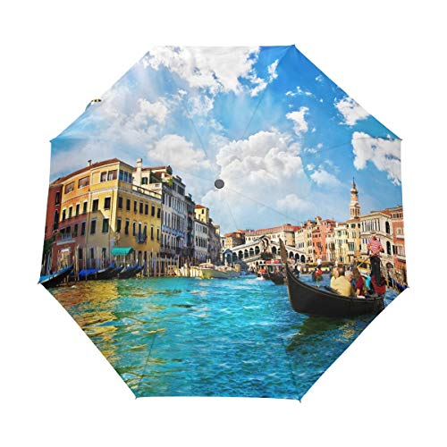 (Venice Grand Canal Umbrella Windproof Rain Automatic Open Close Folding Travel Anti-UV Sun Umbrellas)