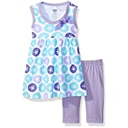 Hudson Baby Baby Dress and Cropped Legging Set, Purple Sand Dollar, 6-9 Months
