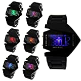 Hiwatch Elegant Plane Style Digital Display LCD 7 Colors Silicone Wrist Watch Black With Gift Box