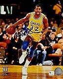 Magic Johnson Signed Autograph 8x10 Photo LA Lakers Dribbling Right GAI COA