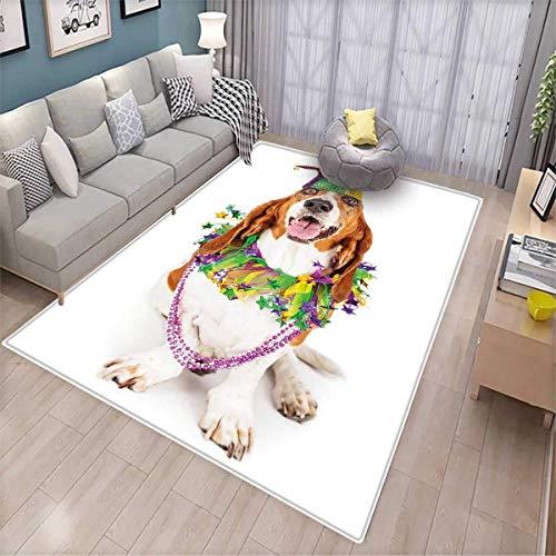 Mardi Gras Room Home Bedroom Carpet Floor Mat Happy Smiling Basset Hound Dog Wearing a Jester Hat Neck Garland Bead Necklace Floor Mat Pattern Multicolor
