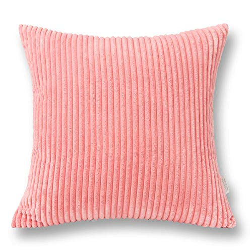(Jeanerlor Home Decoration Super Soft Corduroy with Vertical Stripes Euro Throw Pillow Sham Pink Cushion Cover for Wedding, 26x 26 inch (65 x 65 cm),Flamingo Pink)