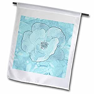 Patricia Sanders Flowers - Light Aqua Flower- Floral Art- Nature - 12 x 18 inch Garden Flag (fl_43953_1)