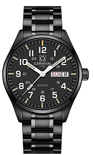 Swiss Watch Men's Tritium Green Light Sapphire Glass Stainless Steel Quartz Luminous Pilot Military Watch (All Black)