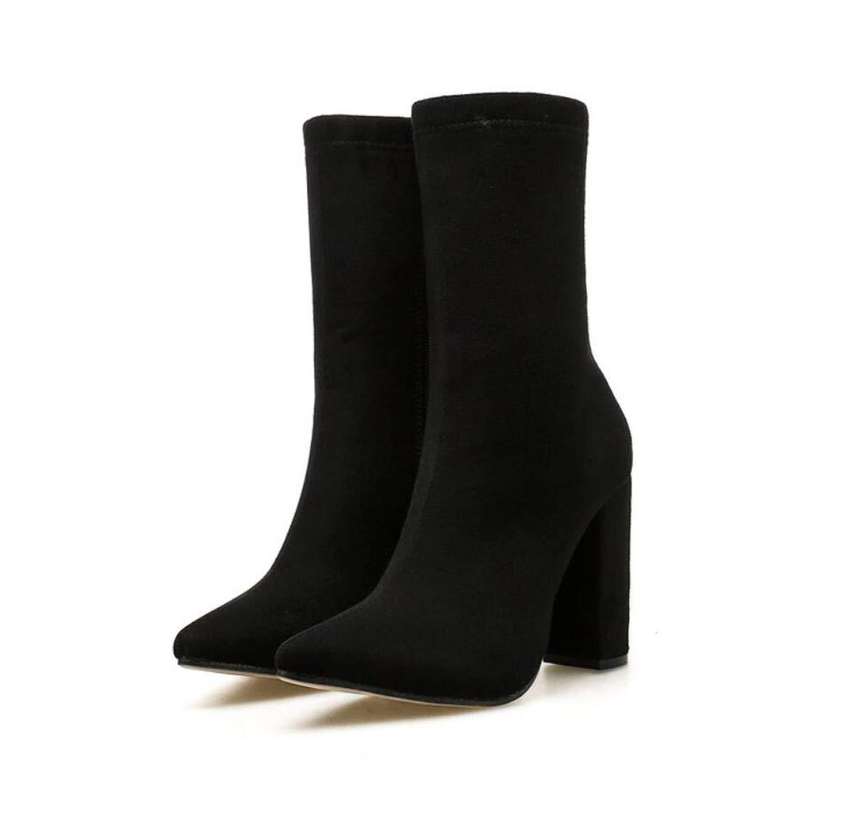 DANDANJIE Damen Stiefel High Heel Mid Kalb Stiefel Casual Reißverschluss wies Zehenschuhe für Herbst Winter 2019 schwarz 38EU