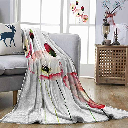 - DILITECK Poppy Durable Blanket Stylised Different Sized Poppy Flowers Revival Growing Widely Known Eternal Life Sign Machine Washable Pink Red W70 xL93
