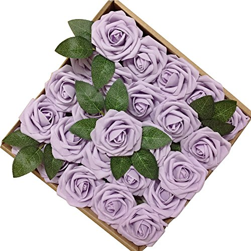 Long Stem Lilac - Jing-Rise 50PCS Fake Roses Real Looking Artificial Flowers For DIY Wedding Bouquets Centerpieces Baby Shower Party Home Office Shop Hotel Supermarket Decorations (Lilac)
