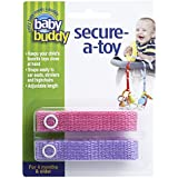 Baby Buddy Secure-A-Toy, Safety Strap Secures Toys, Teether, or Pacifiers to Strollers, Highchairs, Car Seats-Adjustable Length to Keep Toys Sanitary Clean Pink-Lilac 2 Count