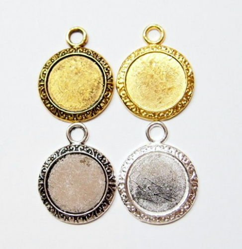 Scroll Pendant Setting - 4 Pcs of Round Scroll Edge Pendant Settings 4 Cameos, Cabs, Coin, Tiles