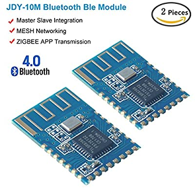MakerHawk 2pcs JDY-10 Bluetooth Ble 4.0 Module Arduino Bluetooth Transceiver Module ZIGBEE APP High Speed Transparent Transmission Mesh Networks Networking Master Slave Integration Android IOS