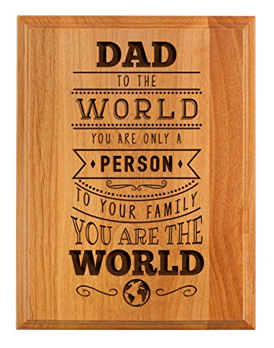 ThisWear Father Day Gifts for Dad to Your Family You Are the World Father Day Gifts for Dad 7×9 Oak Wood Engraved Plaque Wood