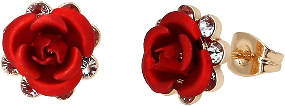 Yoursfs - Pendientes de tuerca, chapados en oro rosa de 18 ct, diseño de rosas