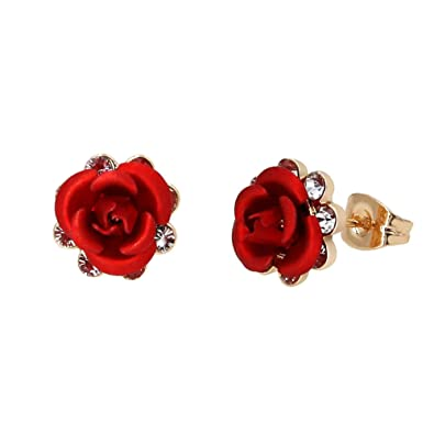 e656fa6ac Yoursfs Cubic Zirconia Stud Earrings Women Earrings Stud Post 18ct Rose Gold  Fashion Jewellery Real Flower