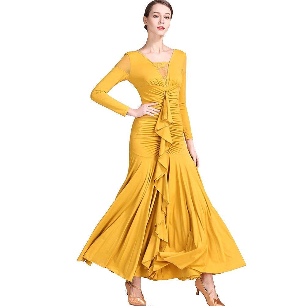 Yellow Modern Dance Skirt Retro Cheongsam Collar Ballroom Dance Skirt Skirt Ballroom Dance Skirt Waltz Skirt
