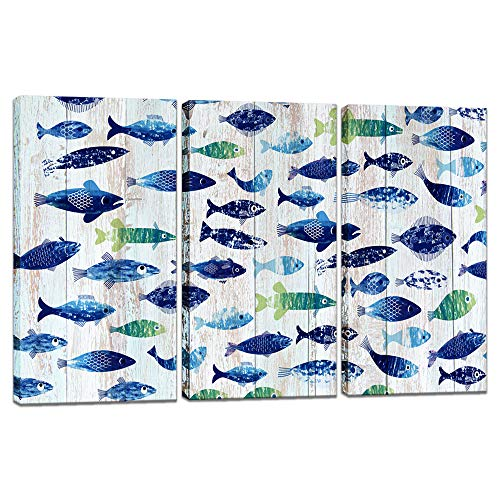 - Innopics 3 Piece Tropical Fish Canvas Painting Wooden Texture Background Giclee Print Colorful Sea Animal Wall Art Abstract Home Decor Stretched and Framed Artwork Bedroom Office Bathroom Decoration