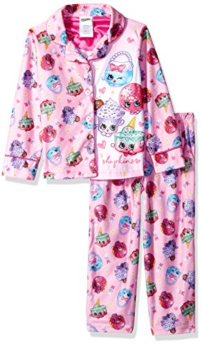 Coat Pj Set (Shopkins Girls' Big 2-Piece Pajama Coat Set, Party Pink, 8)
