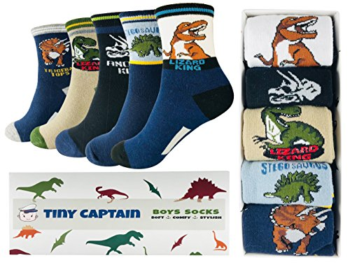 Tiny Captain Boy Dinosaur Socks 4-7 Year Old Boys Crew Cotton Sock Perfect Age 5 Gift Set (Medium, Black and Blue)