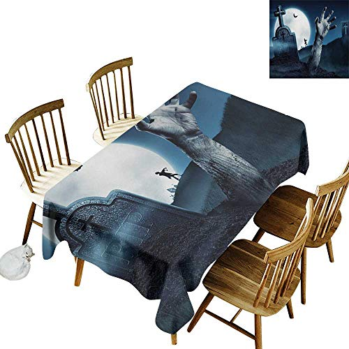 (Camping Outdoor Tablecloth W50 x L80 Zombie Dead Person Arm Cemetery Bat Flying Full Moon Ghost Devil Illustration Design Slate Blue Grey Great for Holiday Dinner More)