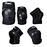 JBM international Adult / Child Knee Pads Elbow Pads Wrist Guards 3 In 1 Protective Gear Set, Black, Child