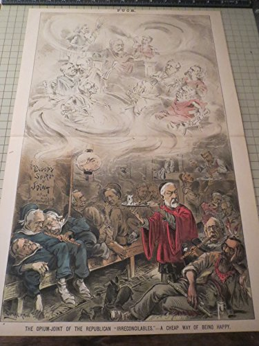 Puck Lithograph (1885) The Opium-Joint Of The Republican Party - A Cheap Way of Being Happy