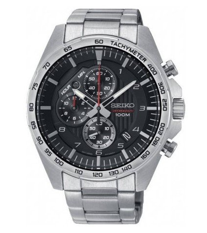 Seiko Mens Chronograph Quartz Watch with Stainless Steel Strap SSB319P1