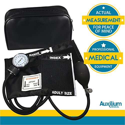 Auxilium Medical High Blood Pressure Monitor Machine   Essential Medical Supplies For Doctors Or Nurses   Adult Size Black Kit With Manual Cuff